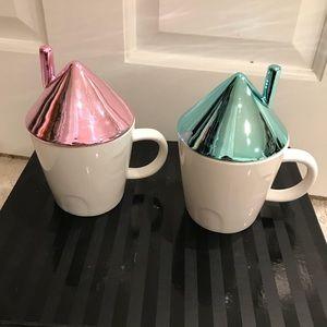 Set of 2 cottage mugs